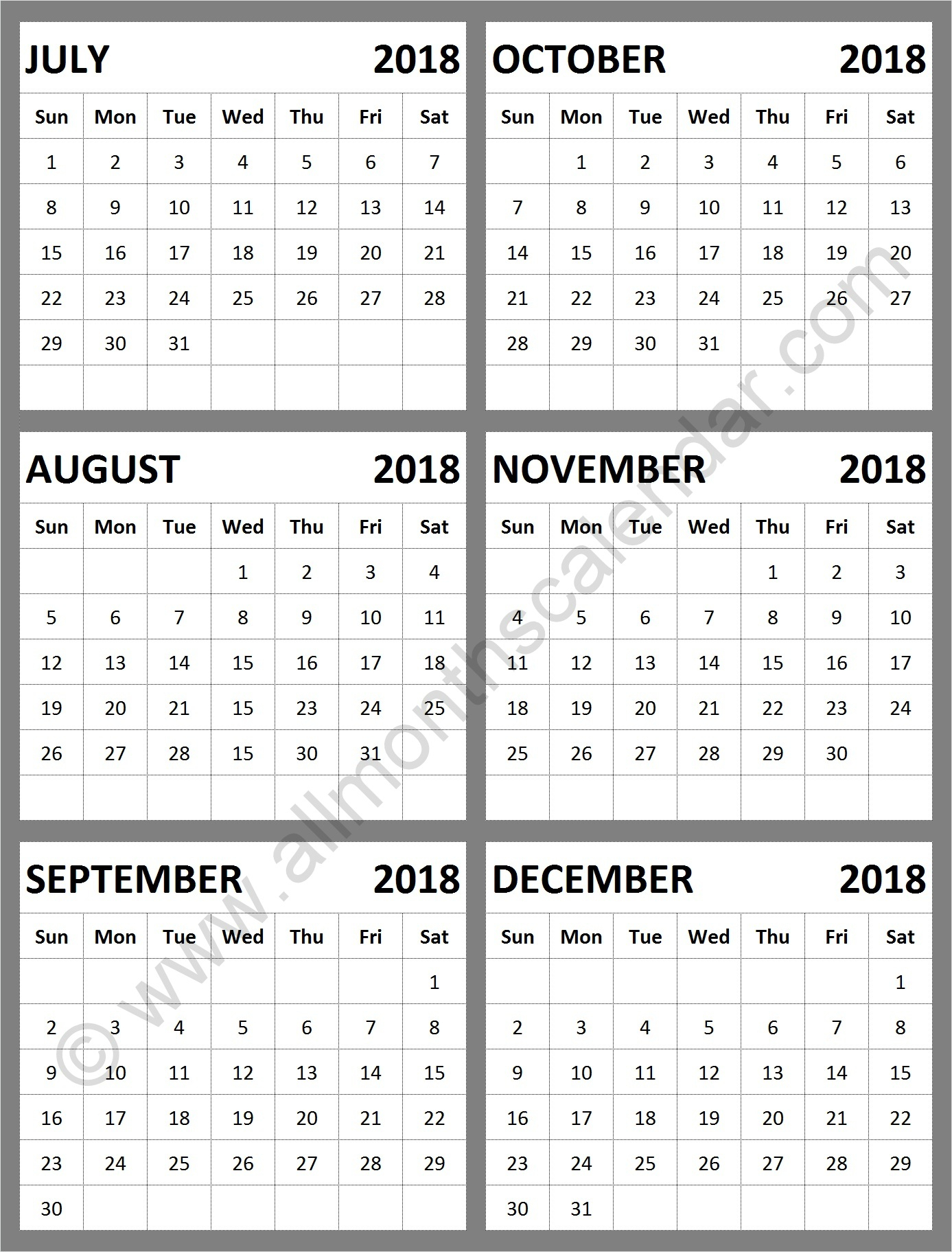 July August September October November December 2018