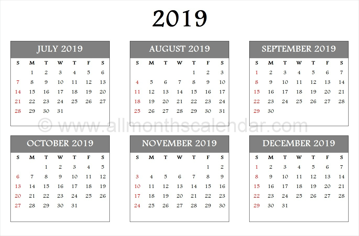 July August September October November December 2019