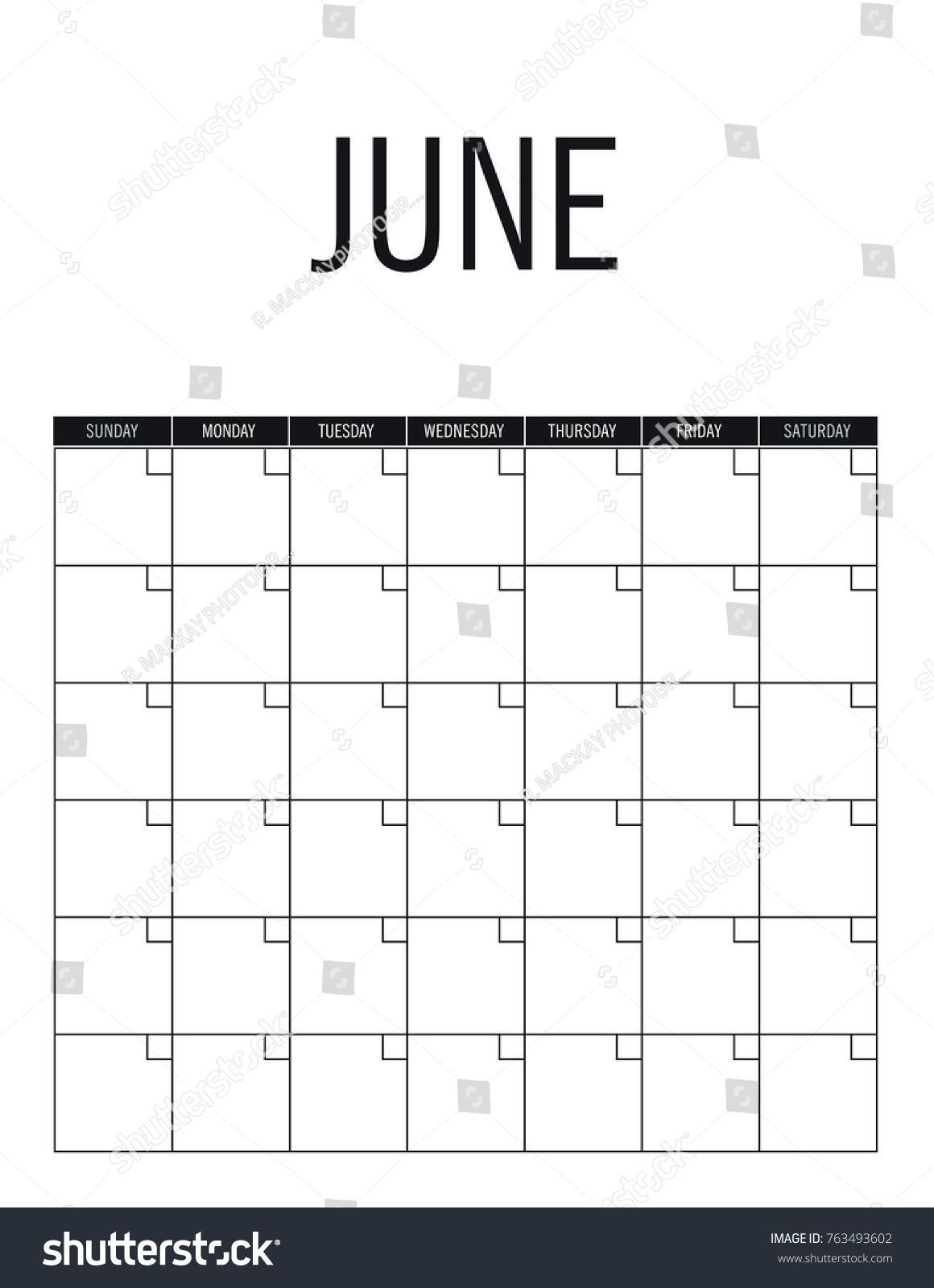 July Blank Calendar Page No Dates Stock Vector (Royalty Free