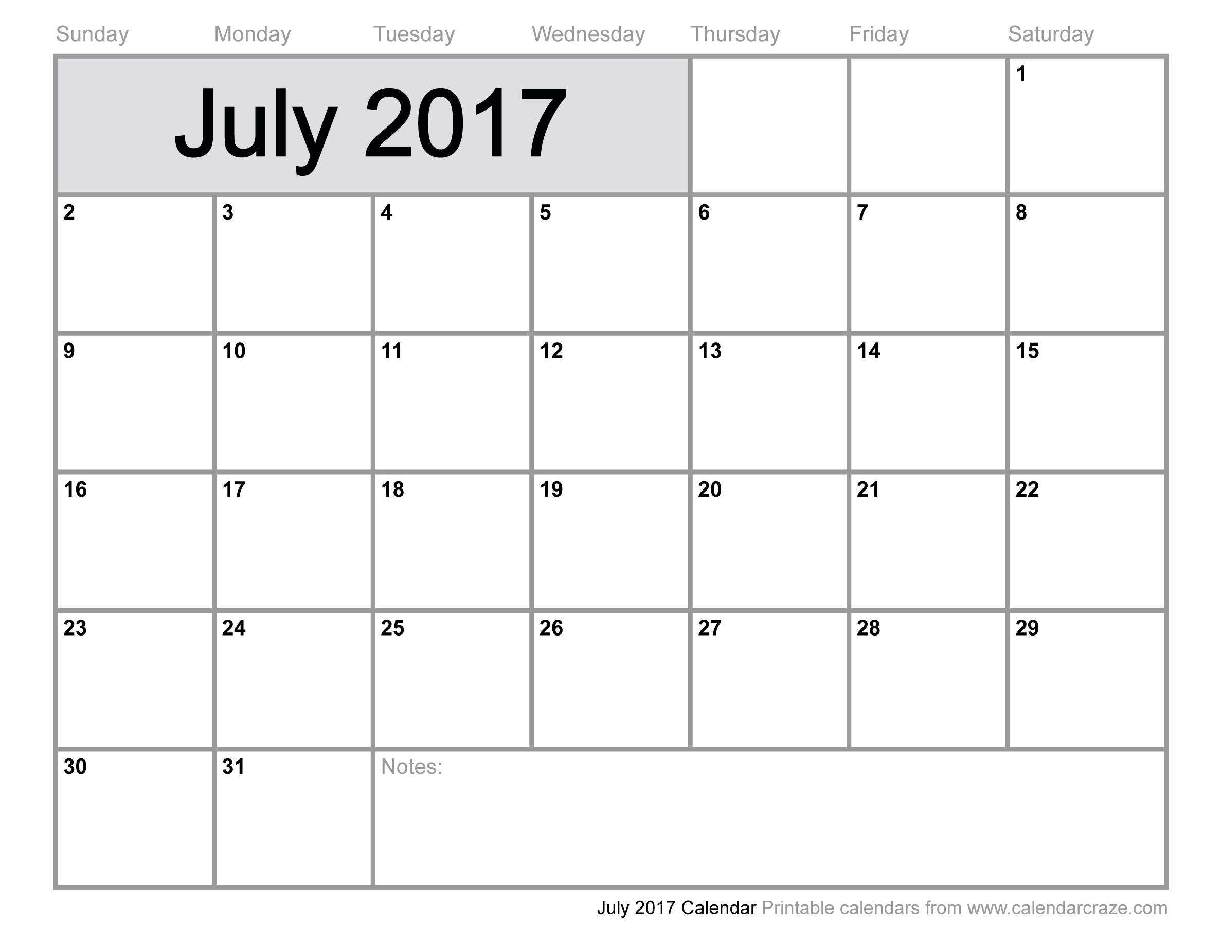 July Calendar Printable 2017 | Hauck Mansion