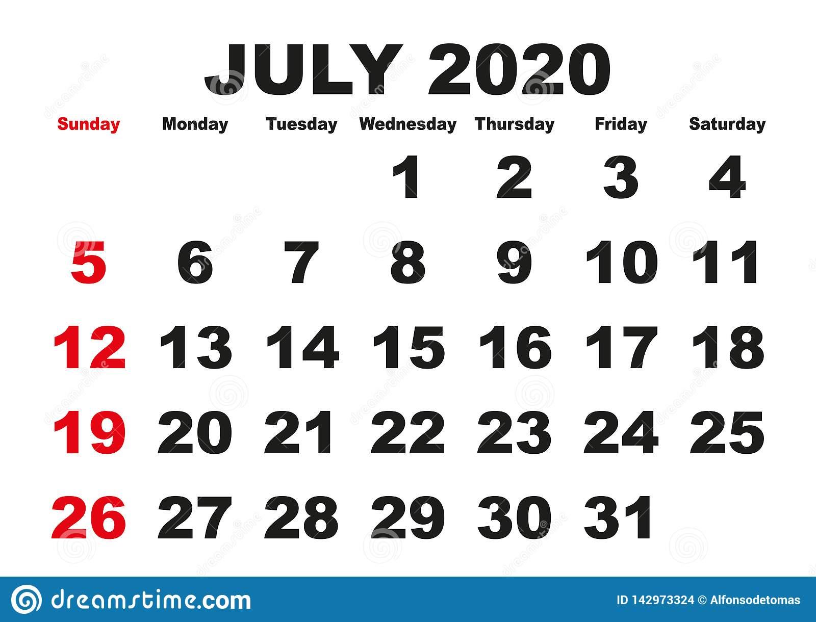July Month Calendar 2020 English Usa Stock Vector