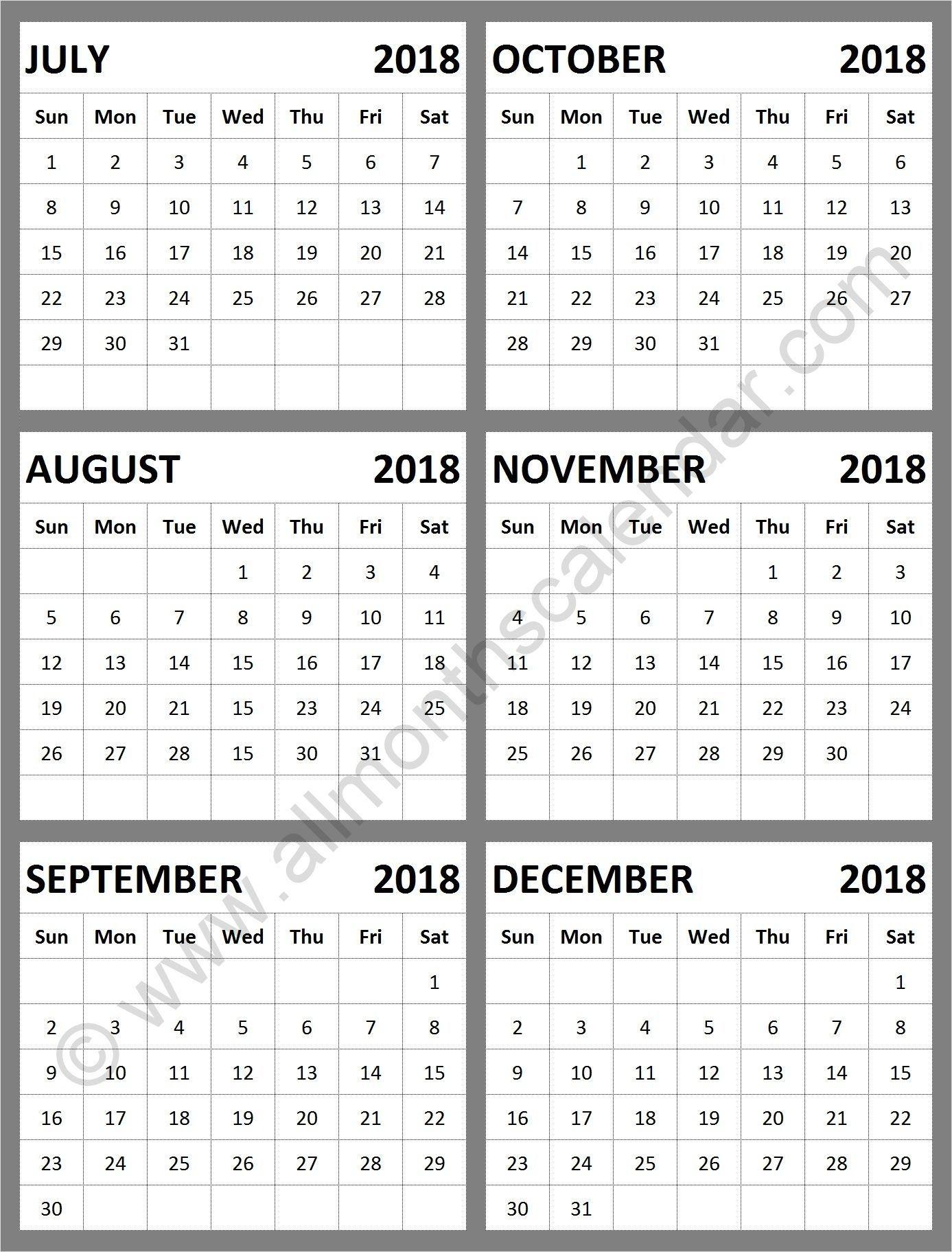 July Through December 2019 Calendar Pics | Calendar Format