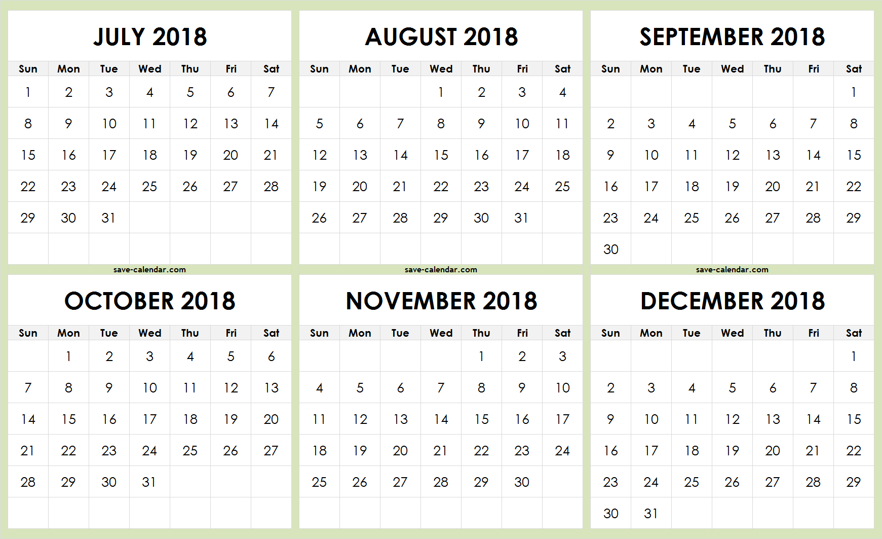 July To December 2018 Calendar Printable Free | 2018