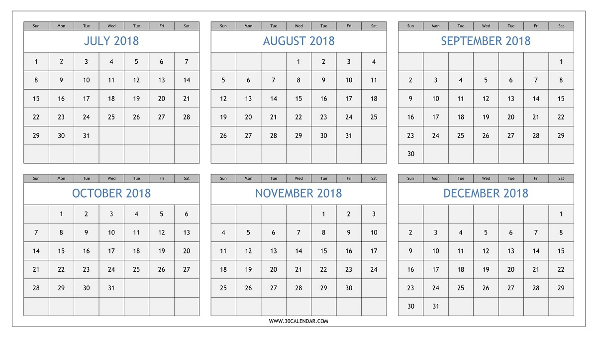 July To December 2018 Calendar Printable | Half Yearly 2018