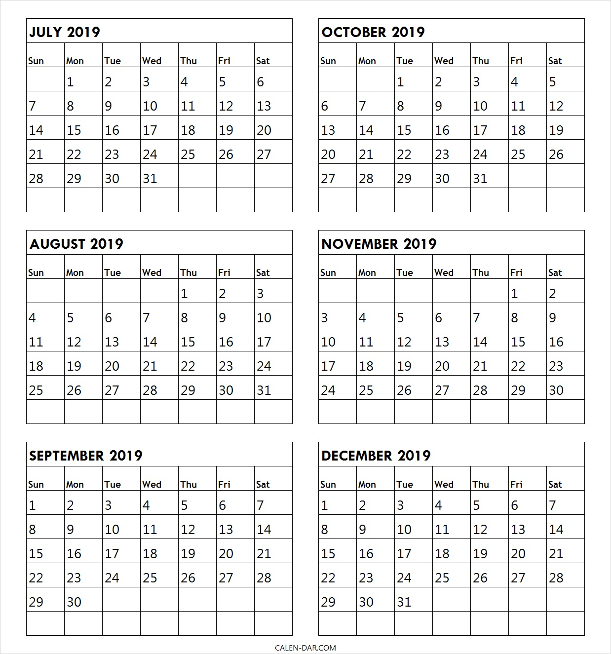 July To December 2019 Calendar For Print Archives