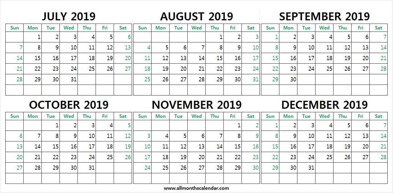 July To December 2019 Calendar Printable | 2019 Weekly
