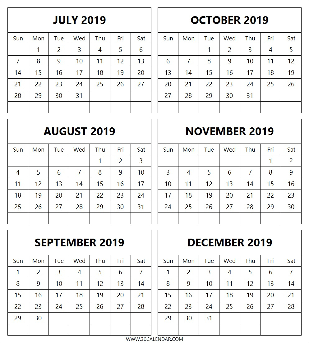 July To December 2019 Calendar Printable | 6 Month 2019 Calendar