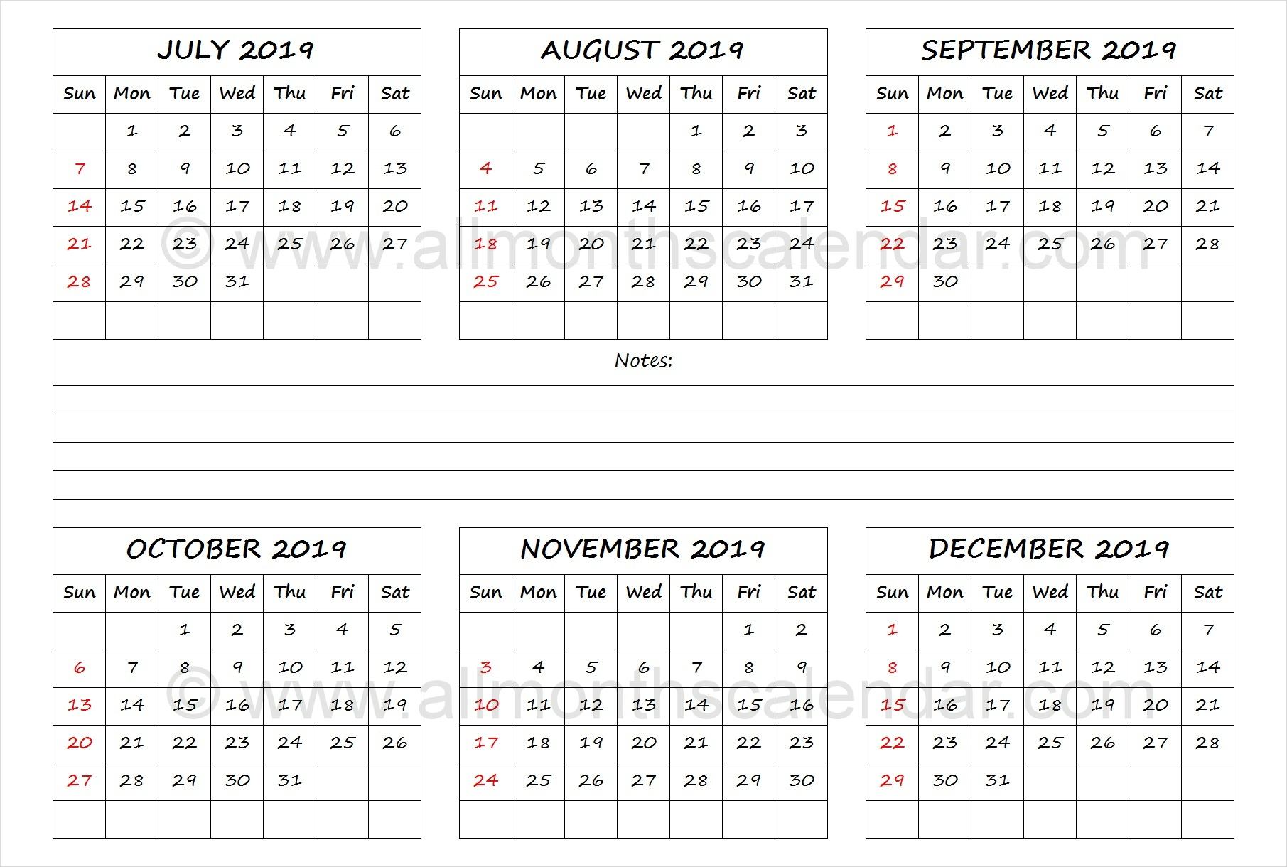 July To December 2019 Calendar Template | Calendar Templates