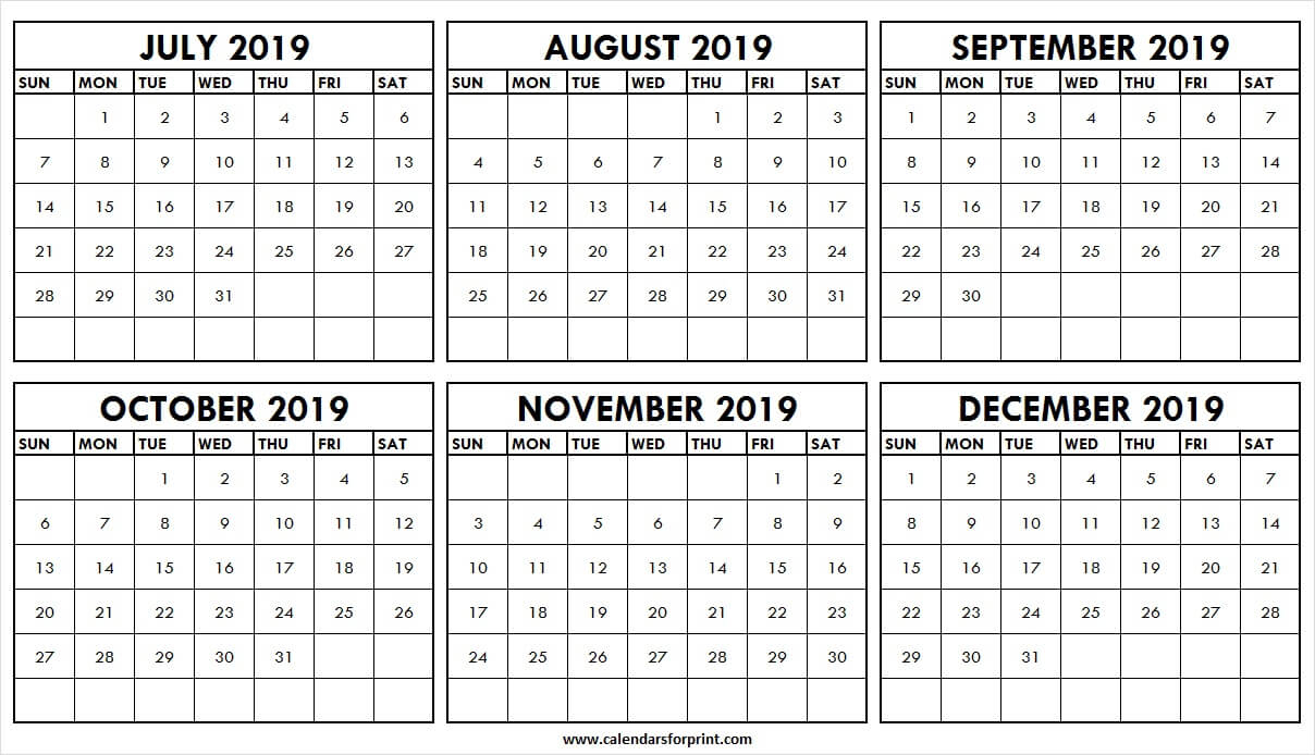 July To December 2019 Printable Calendar | Page 2019 Calendar