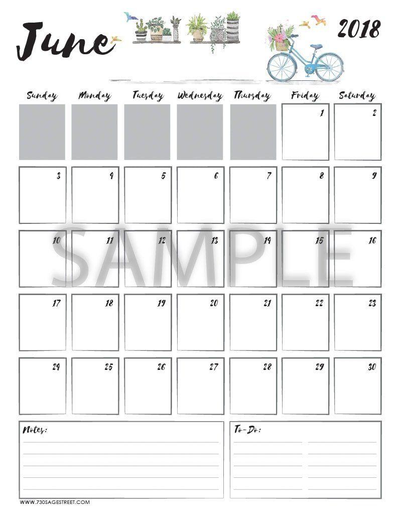 June 2018 Printable Calendar   Crafts   2018 Printable