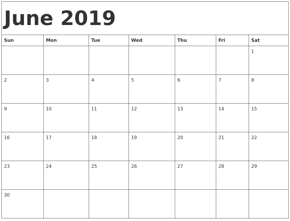 June 2019 Blank Calendar Landscape And Vertical Layout