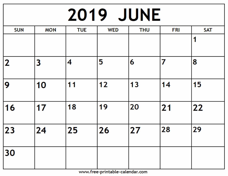 June 2019 Calendar - Free-Printable-Calendar