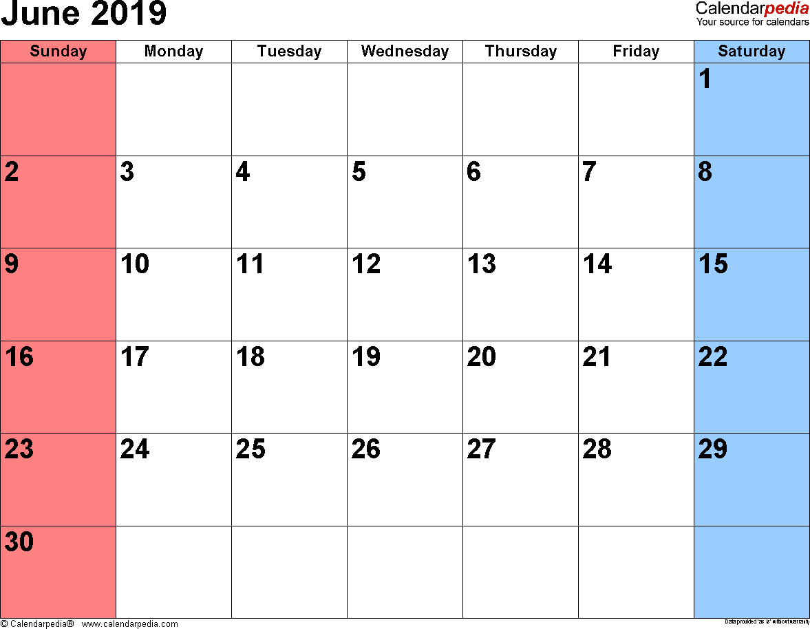 June 2019 Calendars For Word, Excel & Pdf