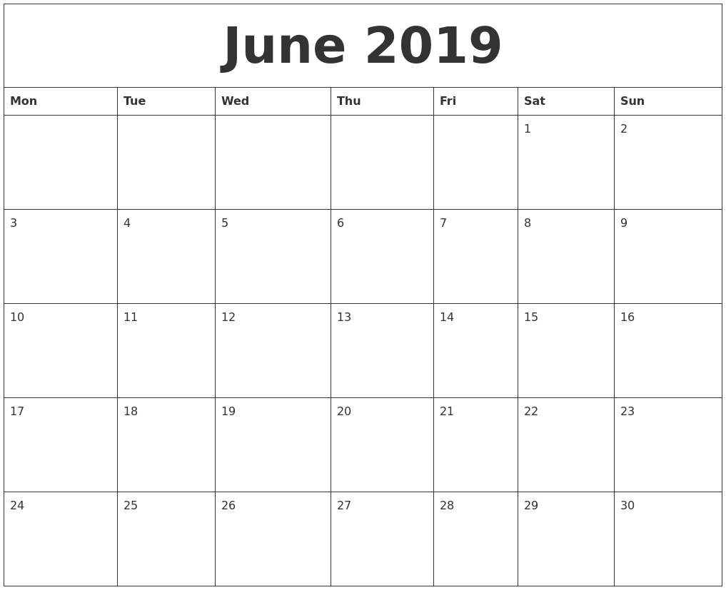 June 2019 Editable Calendar | Monthly Calendar Printable