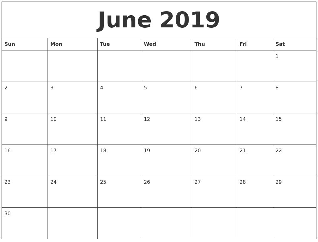June 2019 Free Blank Calendar Template