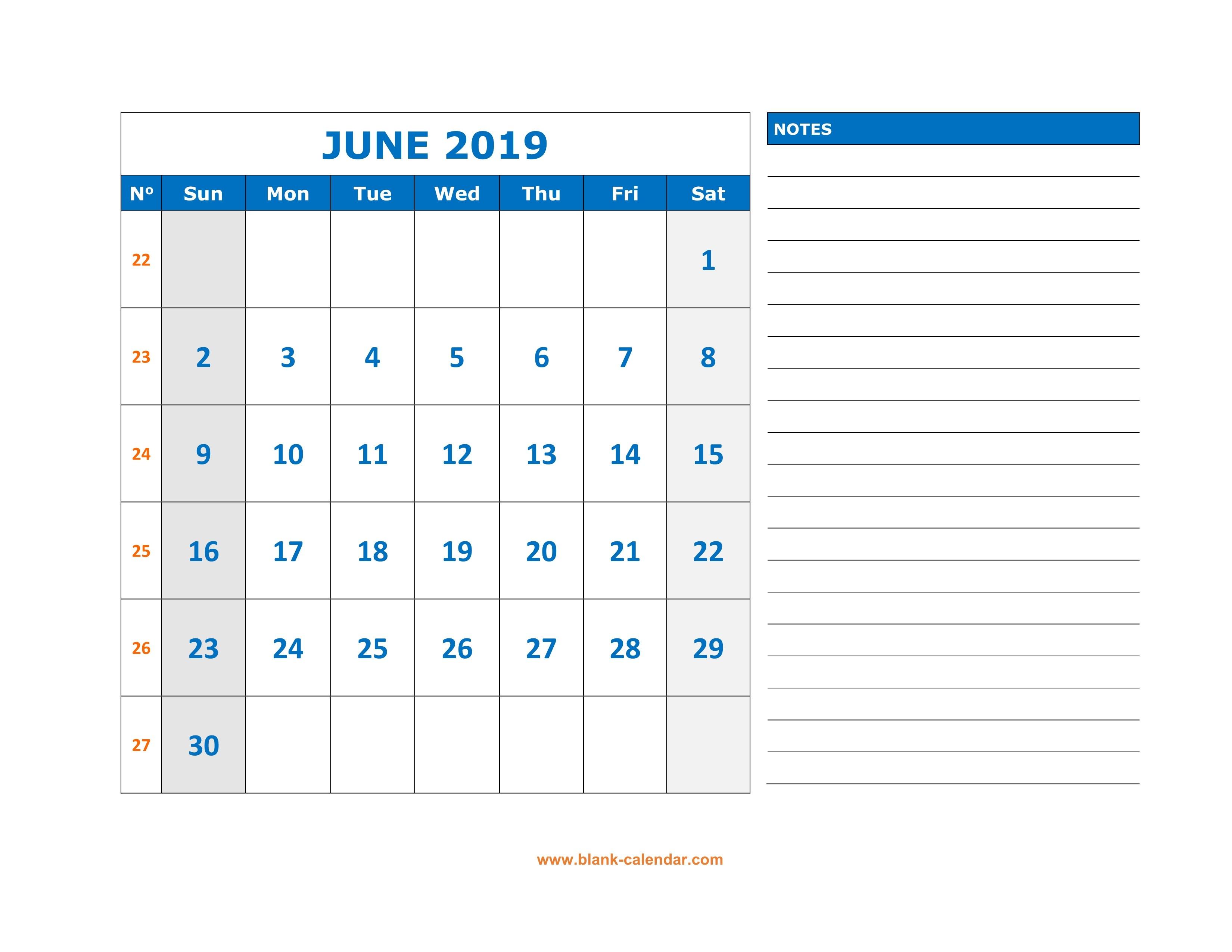 June 2019 Printable Calendar Templates - Free Pdf Holidays