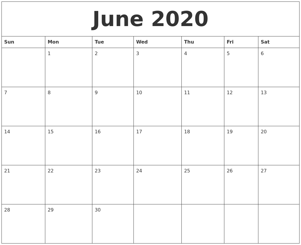June 2020 Blank Monthly Calendar Template
