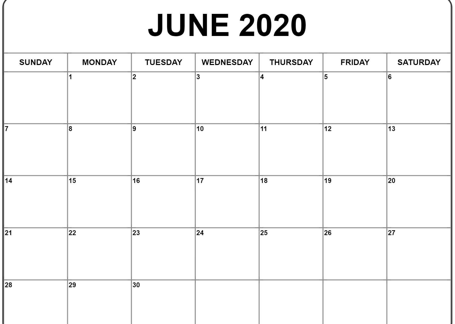June 2020 Calendar Pdf, Word, Excel Template