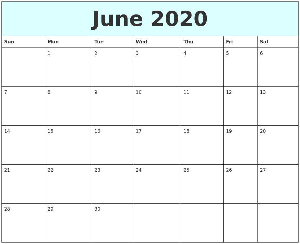 June 2020 Free Calendar