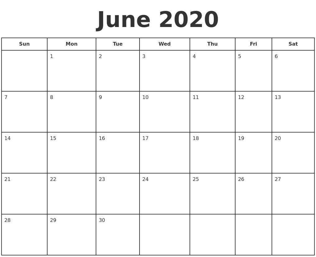 June 2020 Print A Calendar