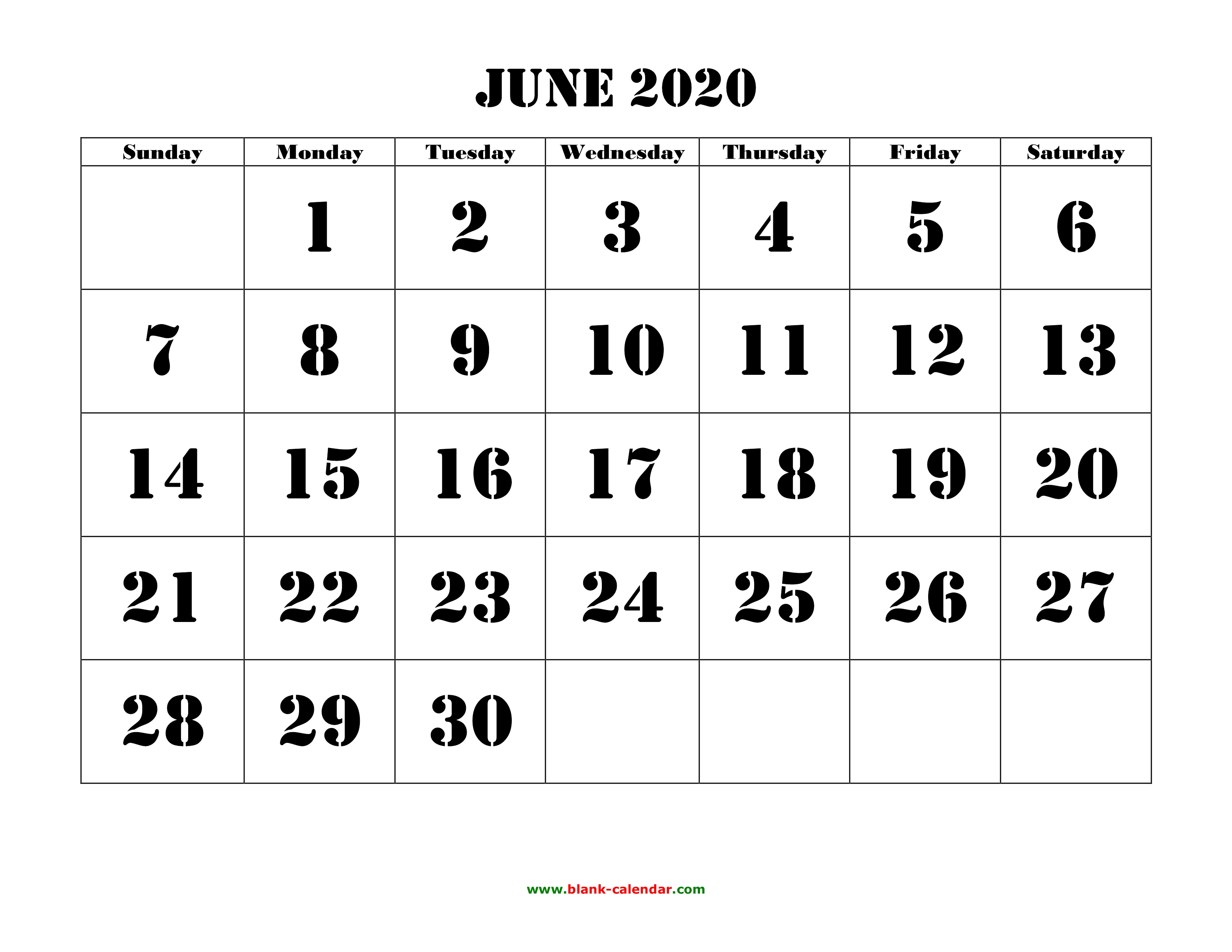 June 2020 Printable Calendar | Free Download Monthly