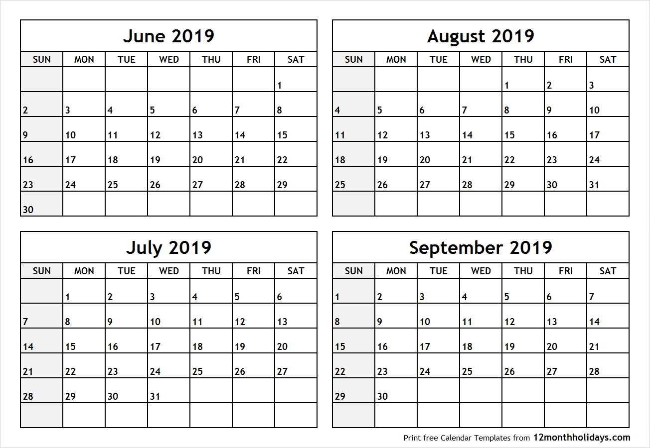 June July 2019 Calendar Printable Template Free Download