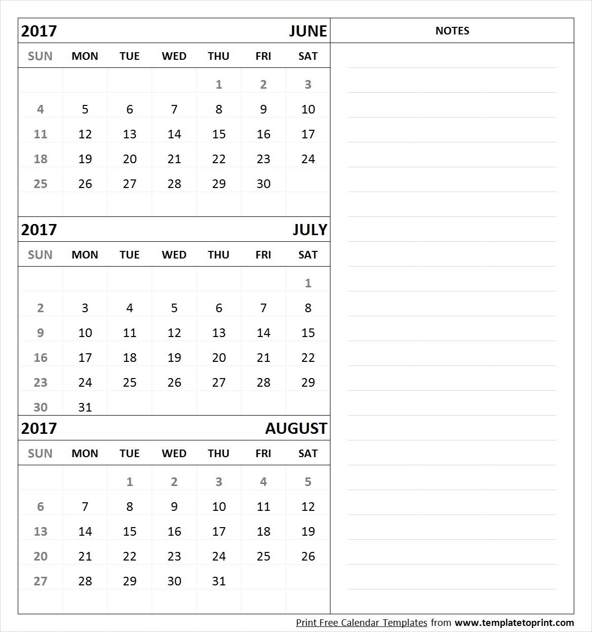 June July August 2017 Calendar Printable Template Pdf