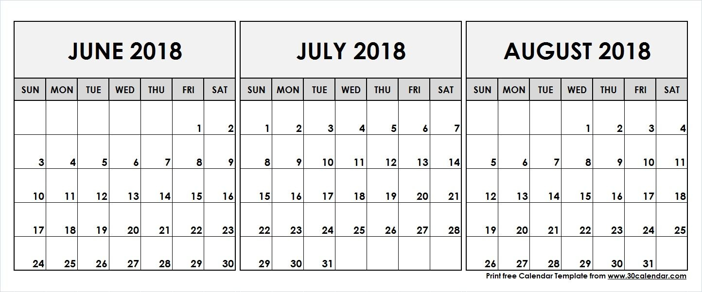 June July August 2018 Printable Calendar | 2018 Calendar