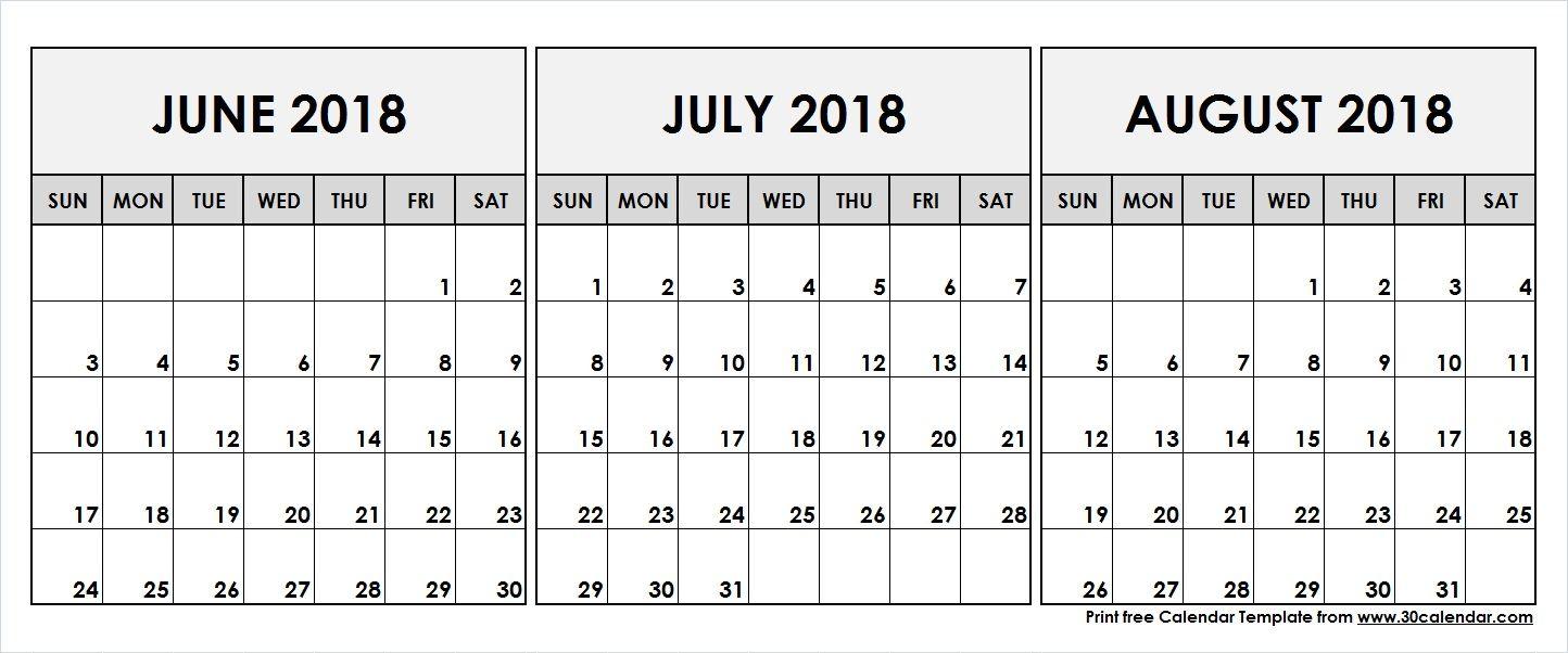 June July August 2018 Printable Calendar | 2018 Calendar