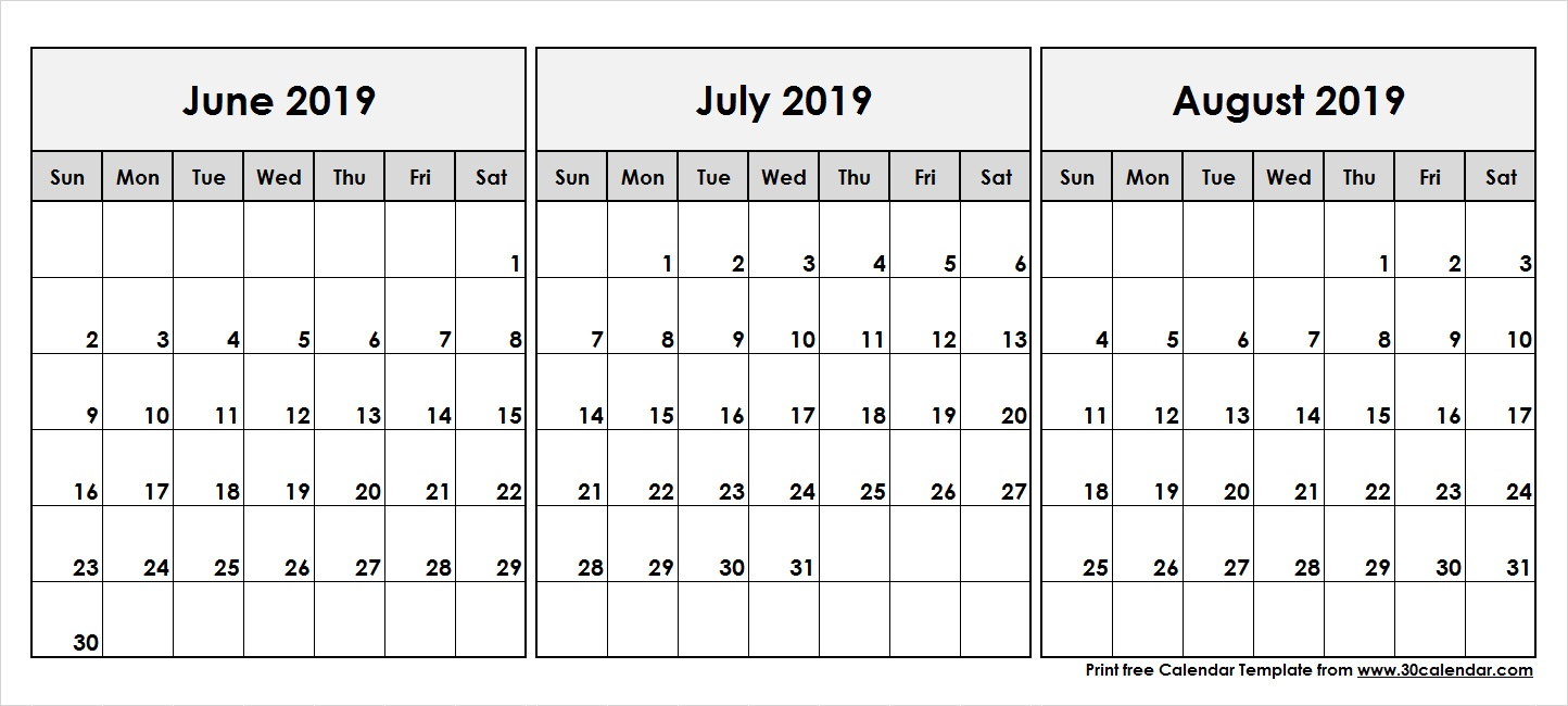 June-July-August-2019-Printable-Calendar - 30 Day Calendar
