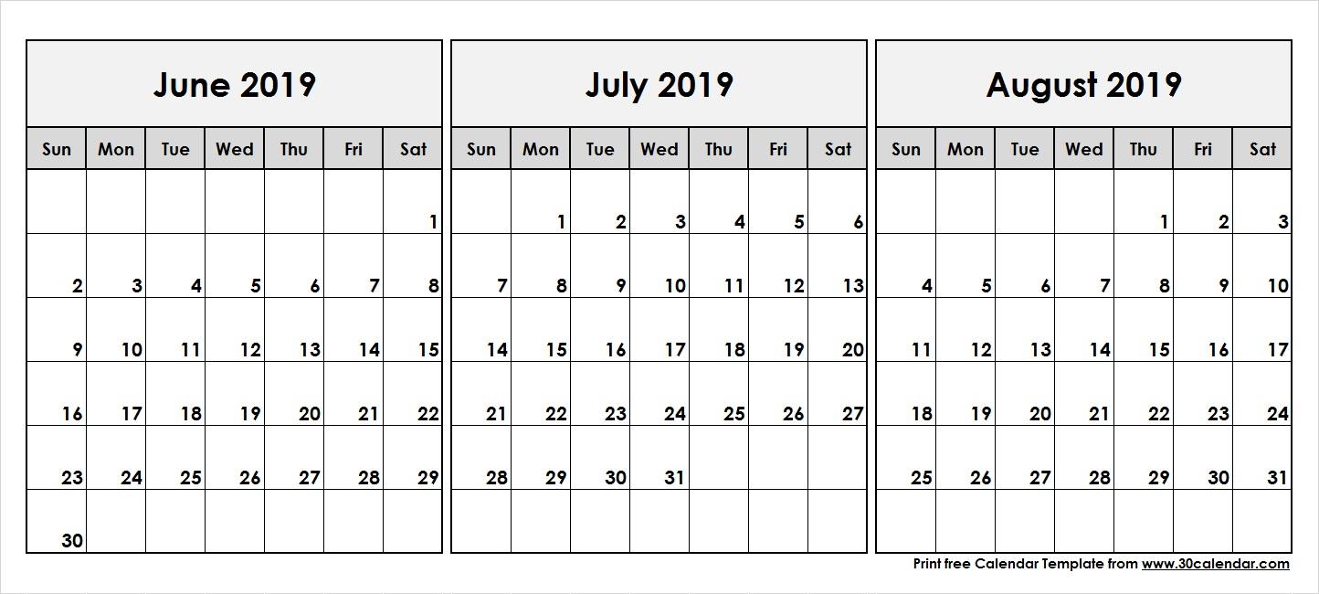 June-July-August-2019-Printable-Calendar - 30 Day Calendar