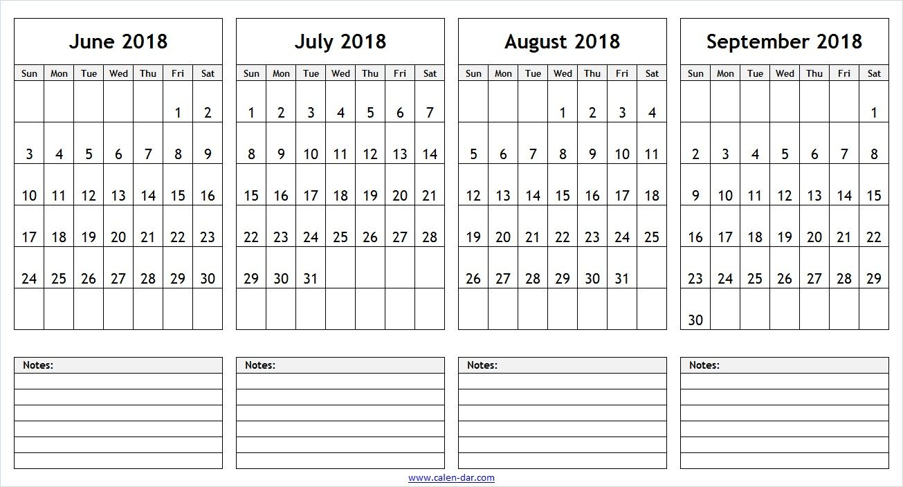 June July August September 2018 Calendar With Notes | 2018