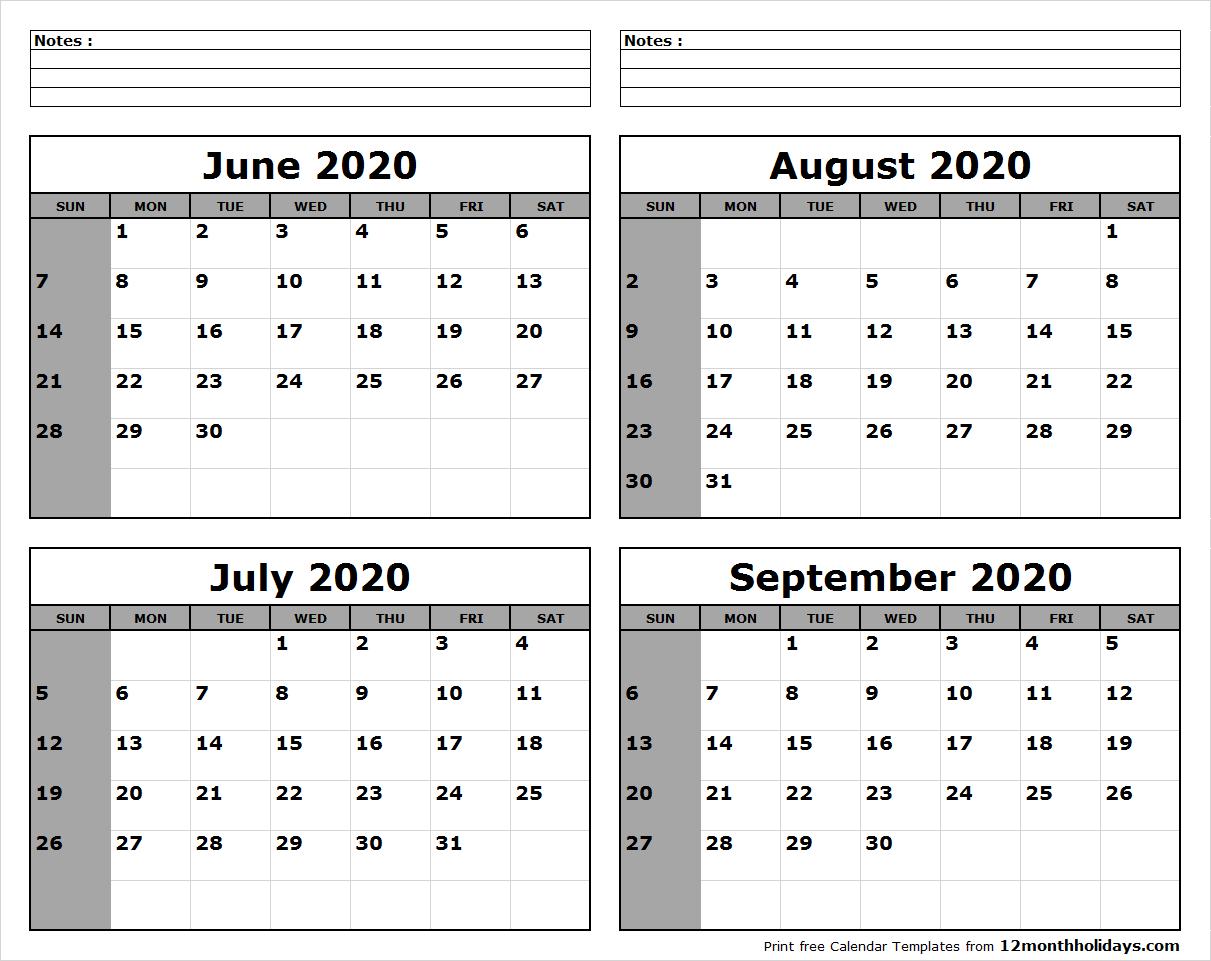 June-July-August-September-2020-Calendar-To-Print - All 12