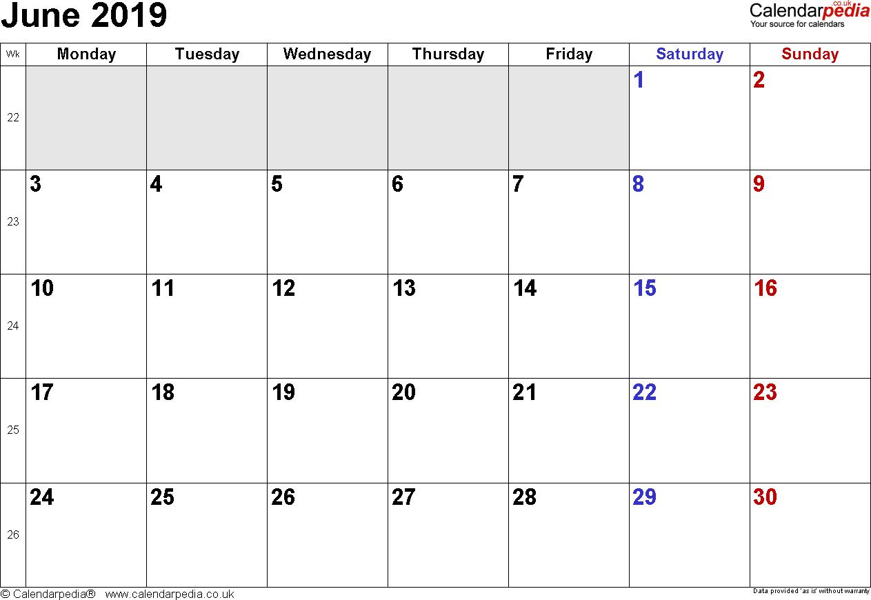 June Printable Calendar 123Calendars Com Daily Template 2019