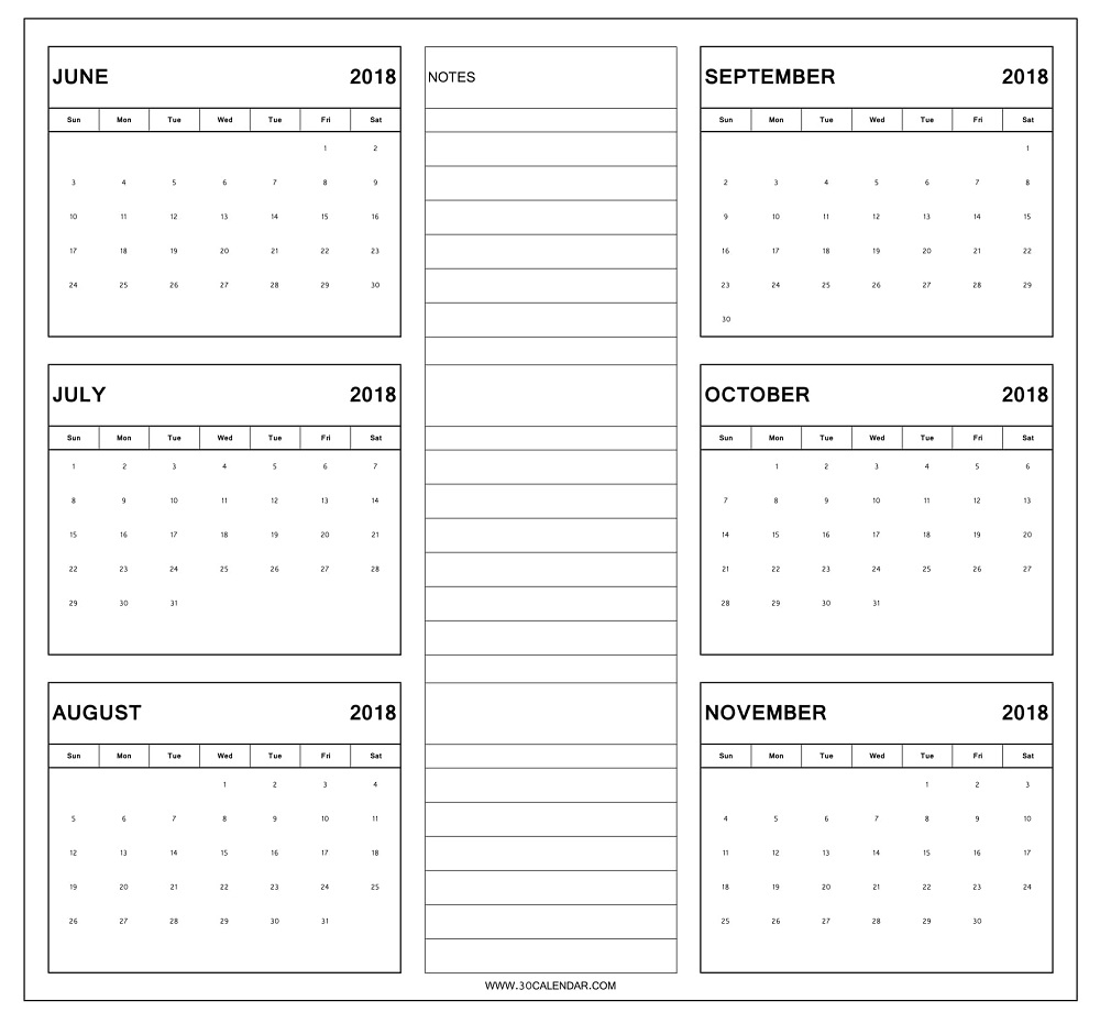 June To November 2018 Calendar Printable | 6 Month Calendar 2018