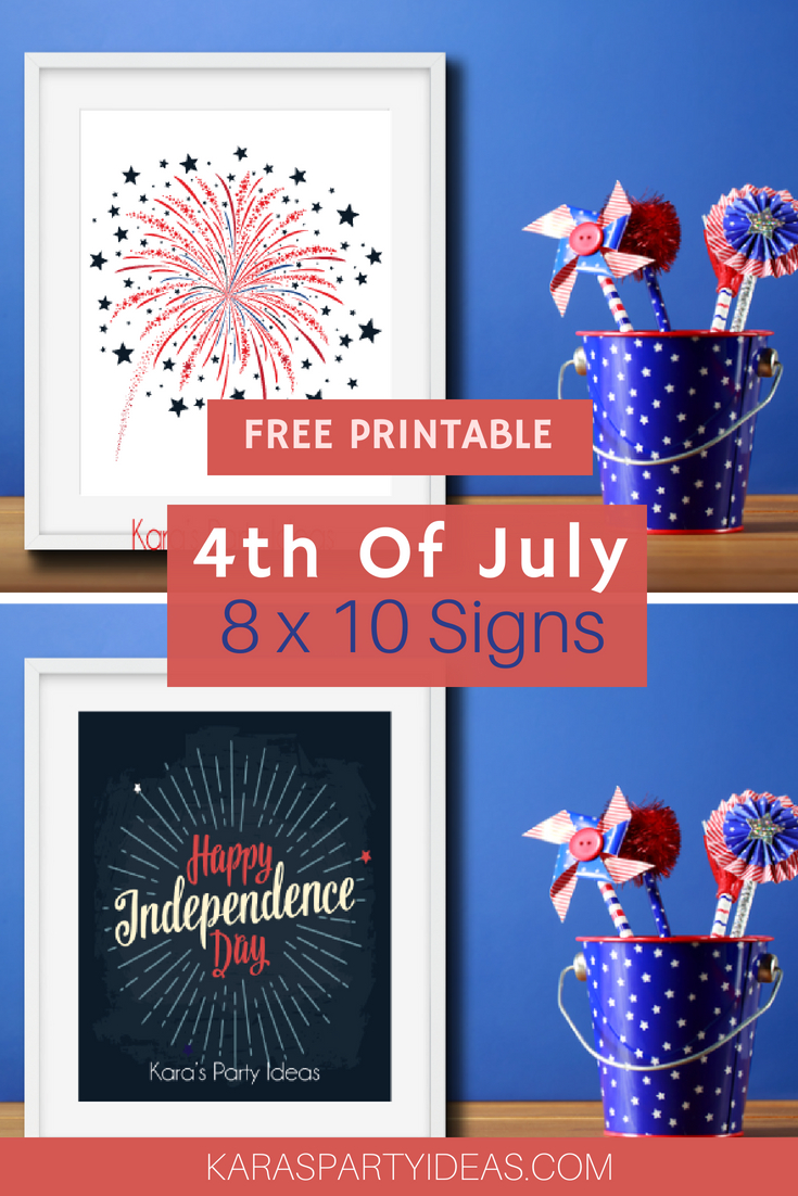 Kara's Party Ideas Free Printable 4Th Of July 8X10 Signs