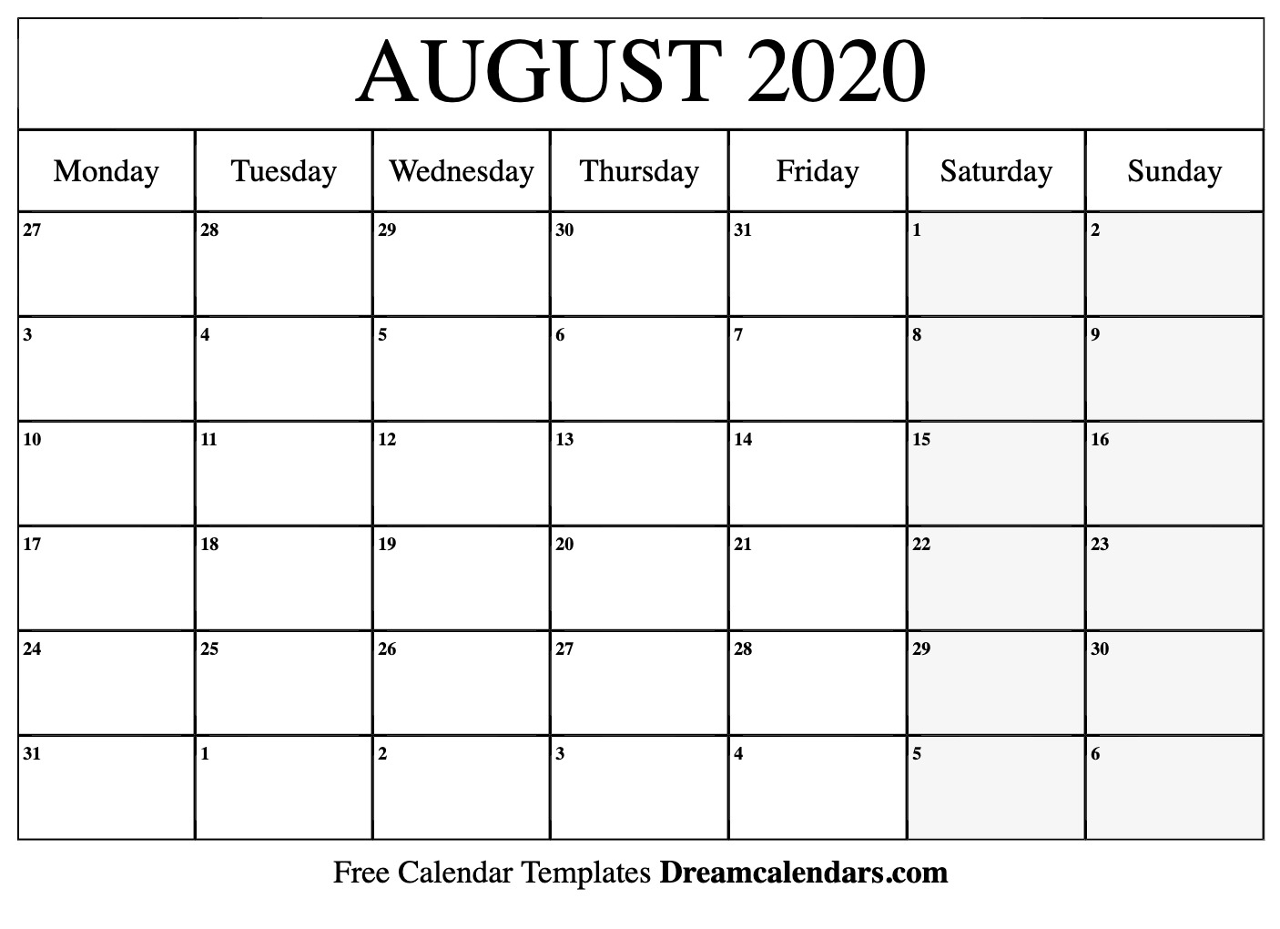 Ko-Fi - Printable August 2020 Calendar - Ko-Fi ❤️ Where