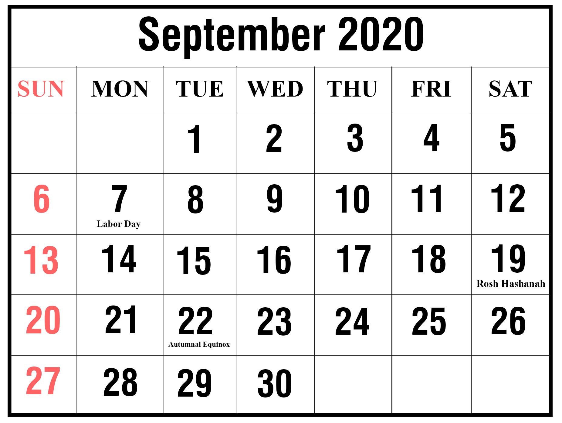 Ko-Fi - September 2020 Calendar Printable - Ko-Fi ❤️ Where