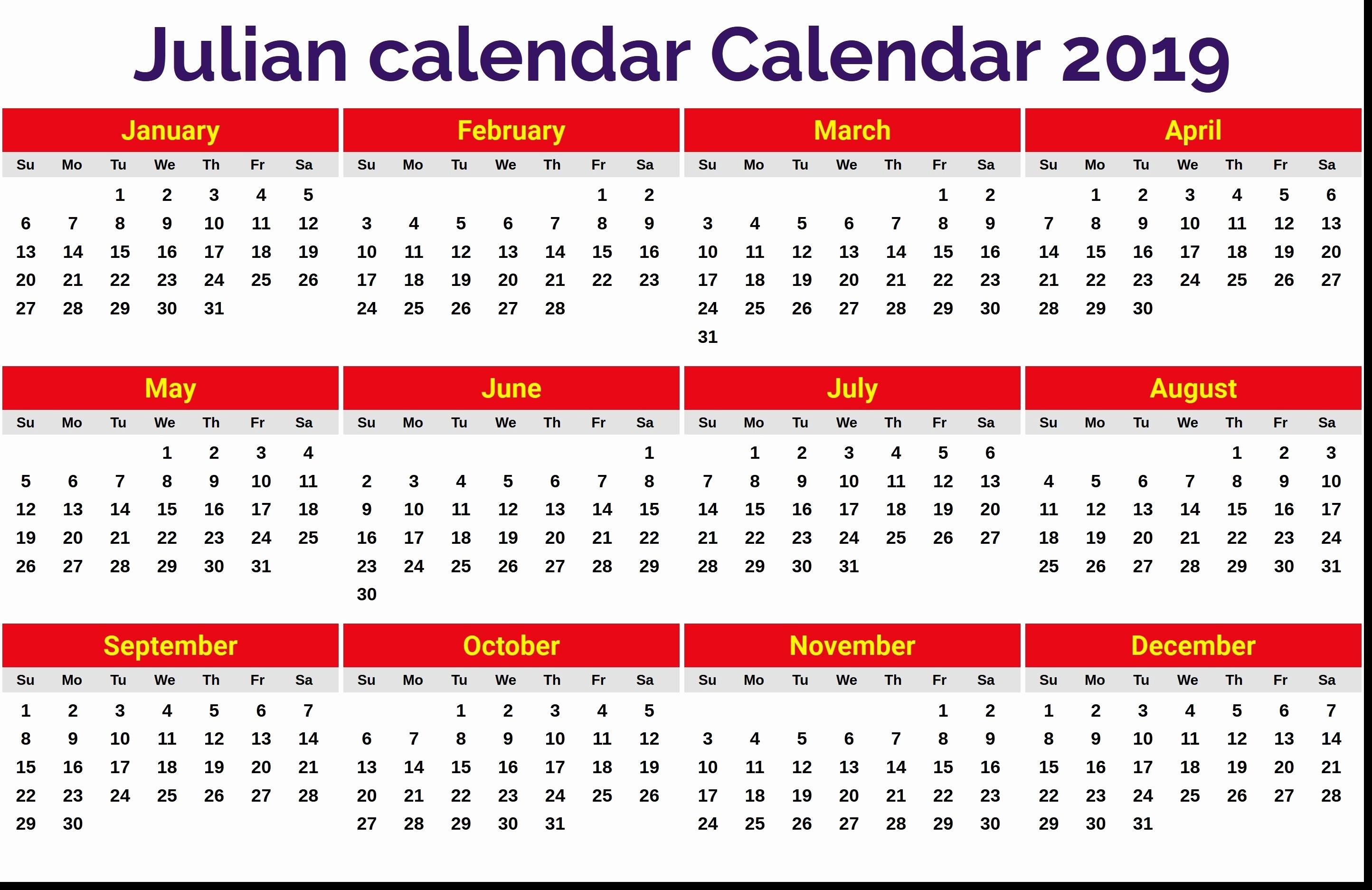 Leap Year Julian Calendar Pdf | Calendar Printing Example