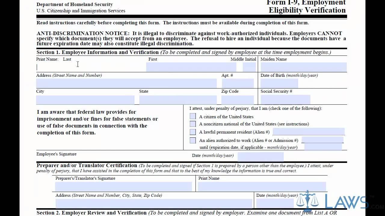 Learn How To Fill The I-9 Form