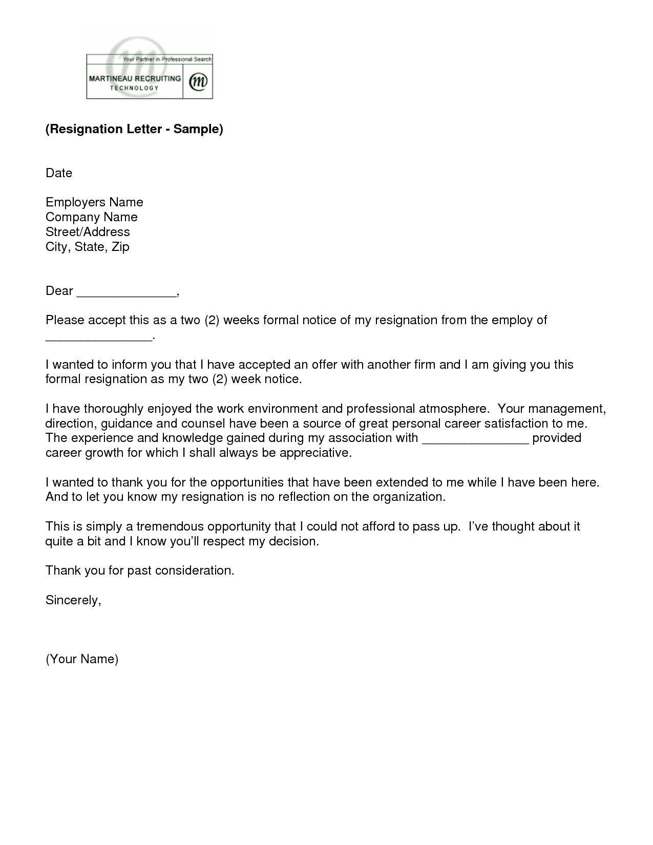 Letter Of Resignation 2 Weeks Notice Template | Ew