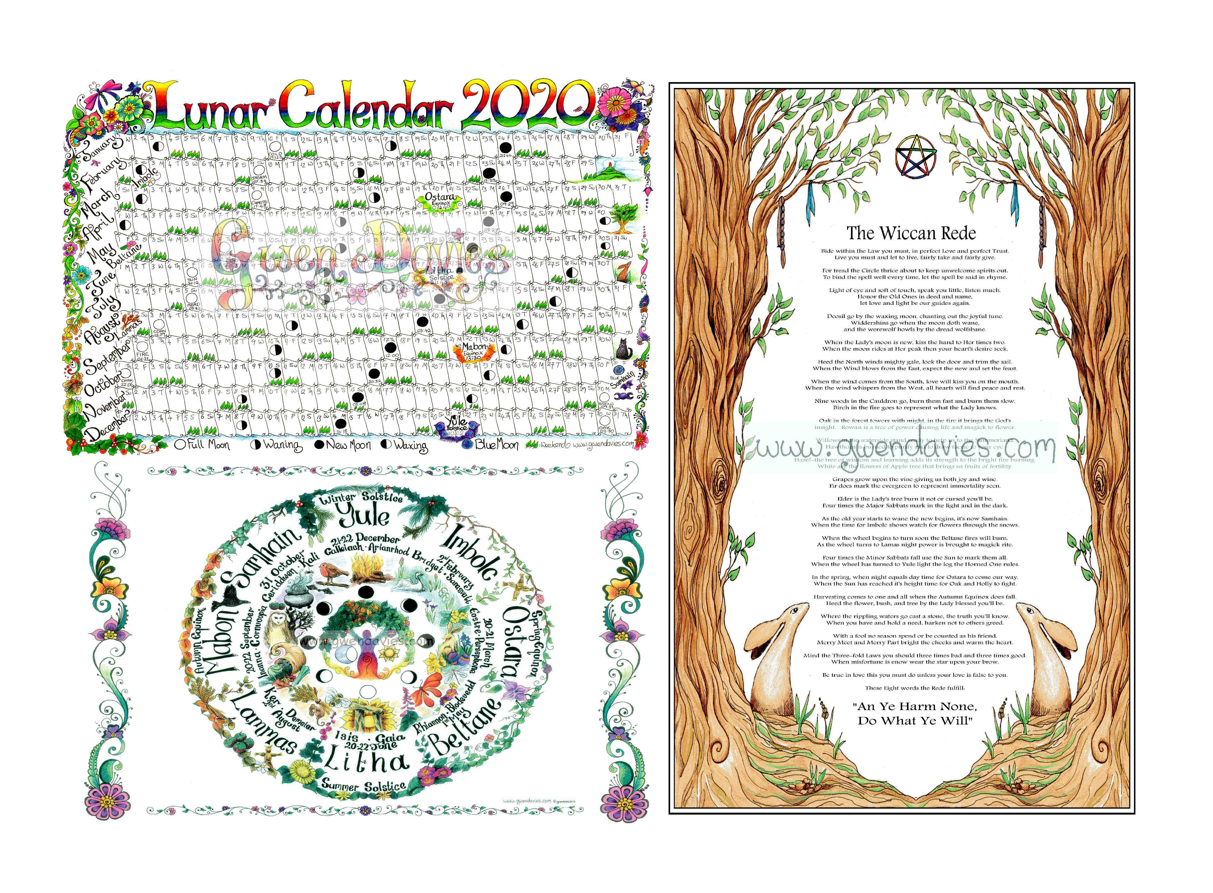 Lunar Calendar, Wiccan Rede And Wheel Of The Year Pagan Poster Set