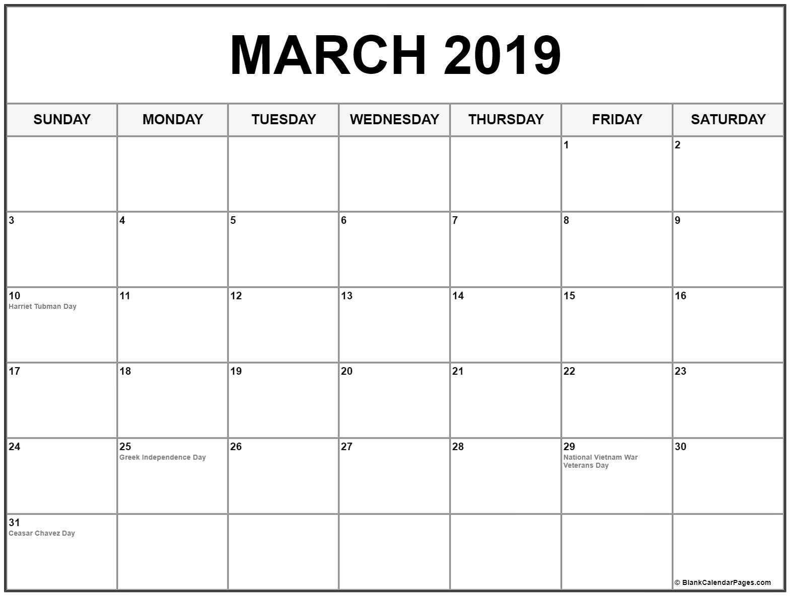 March 2019 Calendar With Holidays Printable Notes Template
