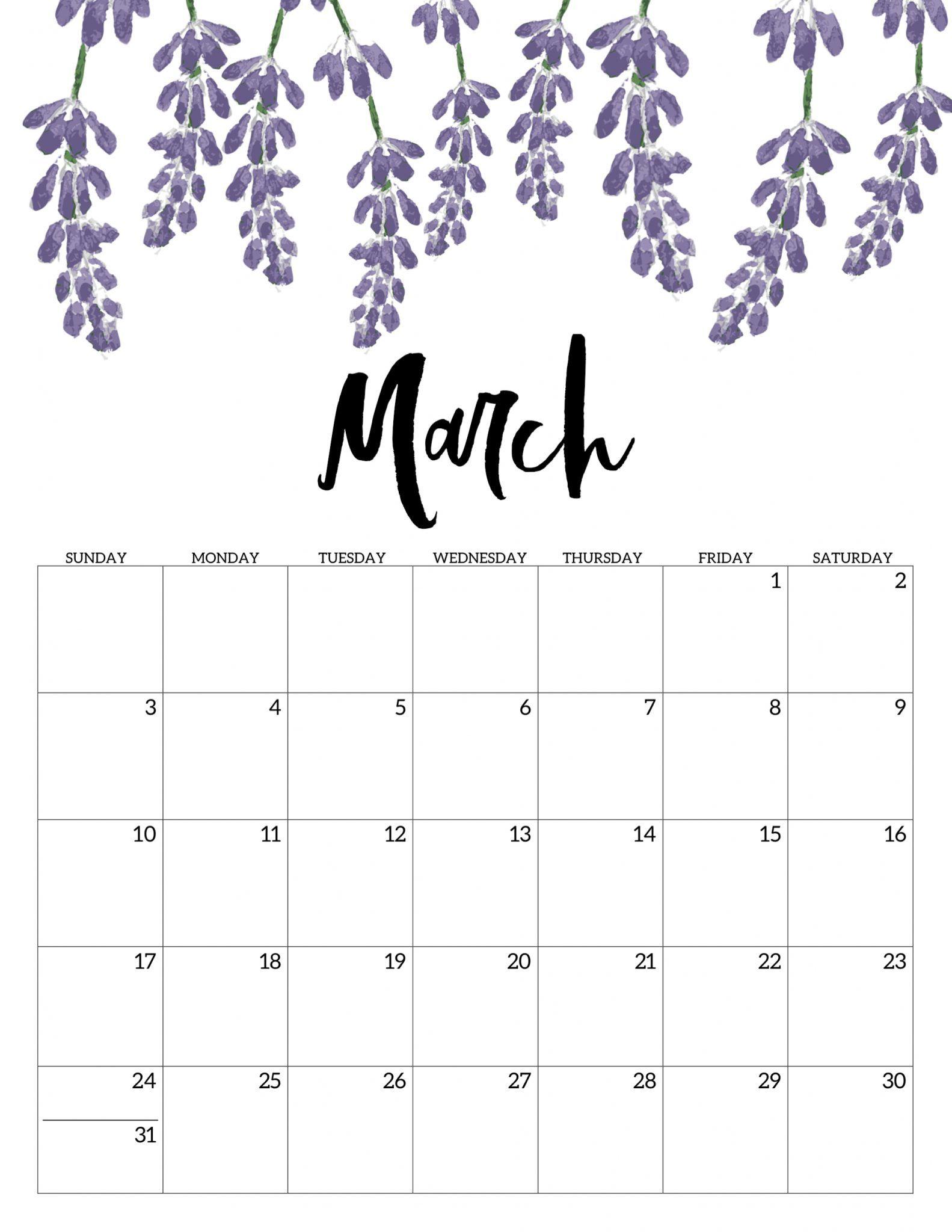 March 2019 Floral Calendar #march #march2019
