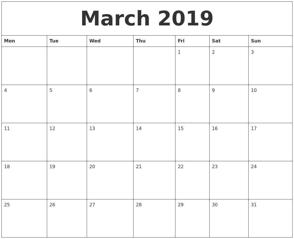 March 2019 Free Blank Calendar Template