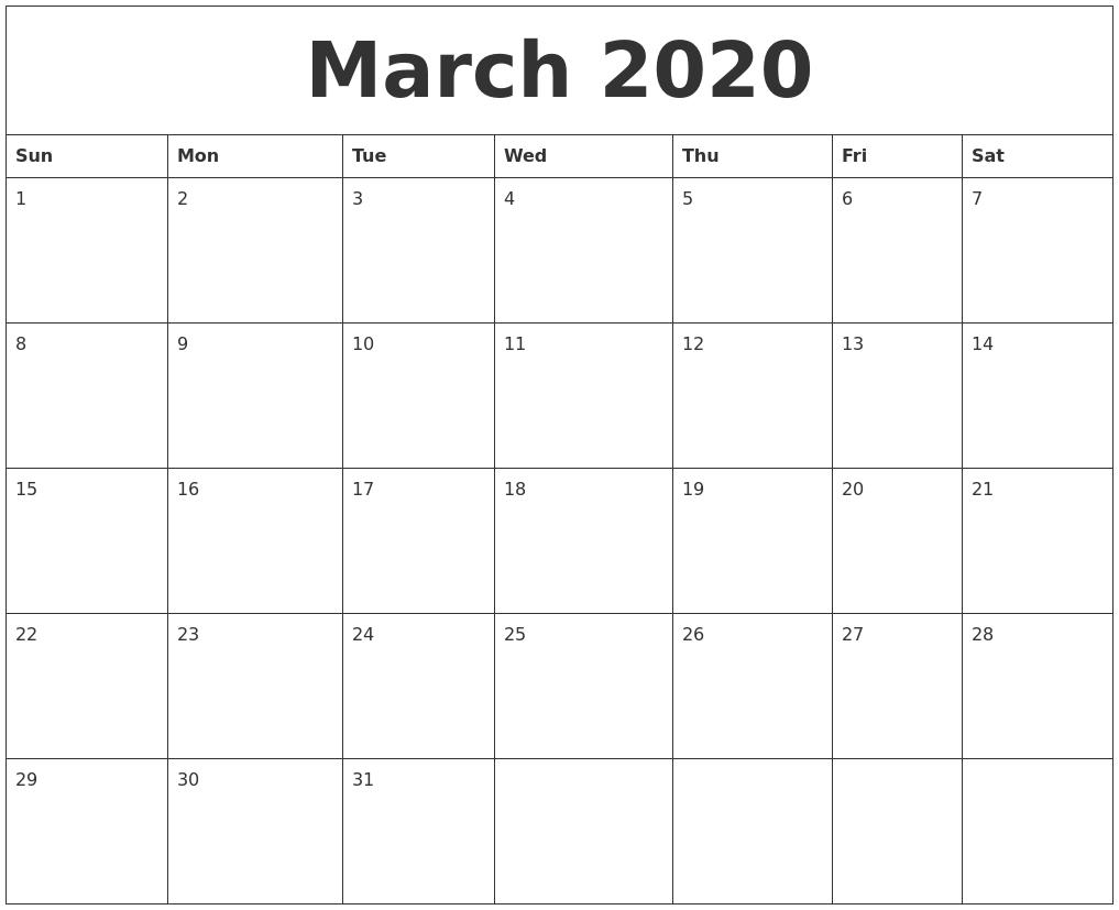 March 2020 Blank Calendar To Print