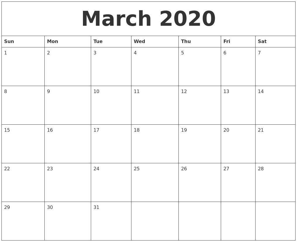 March 2020 Blank Monthly Calendar Template