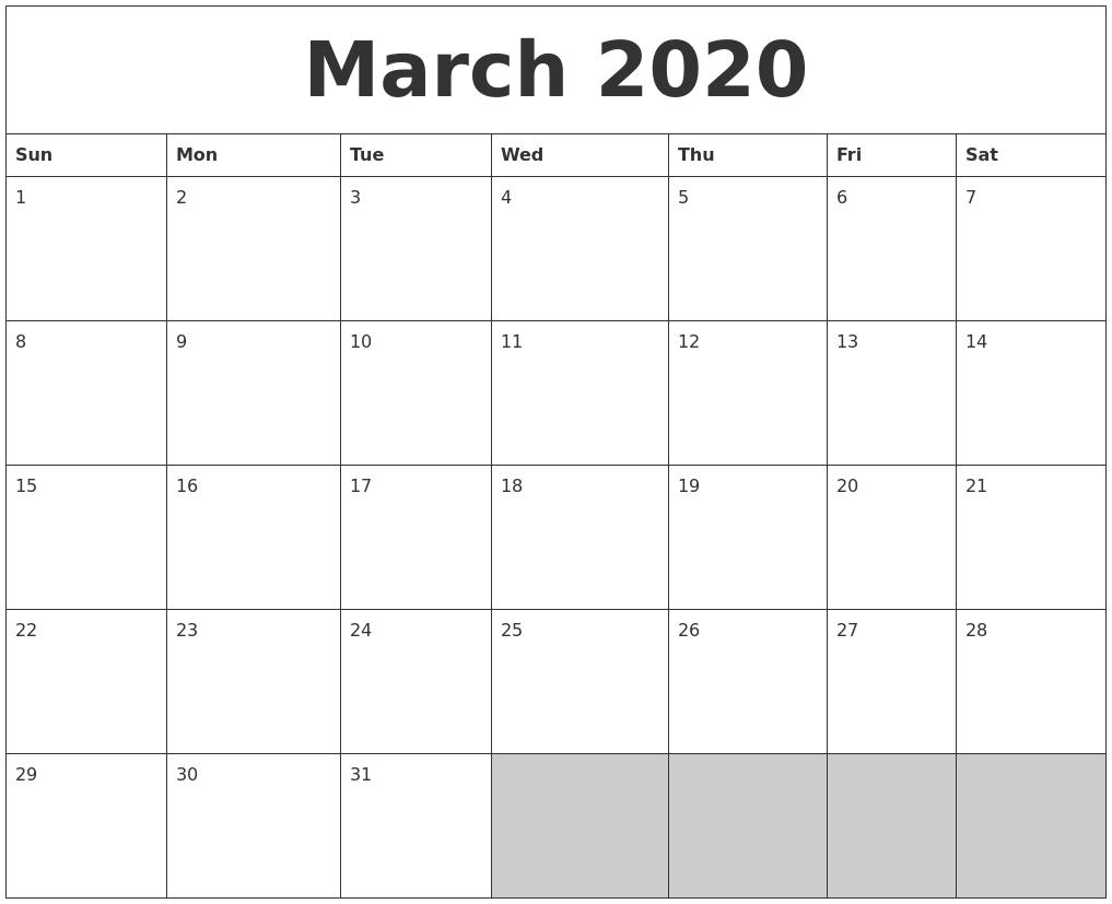 March 2020 Blank Printable Calendar