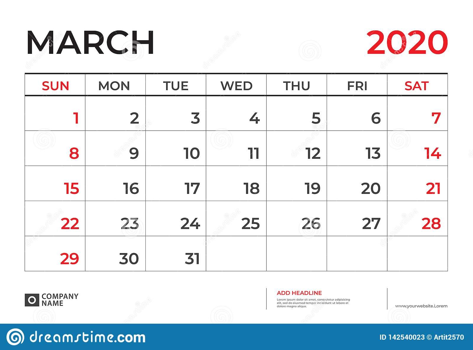 March 2020 Calendar Template, Desk Calendar Layout Size 9.5