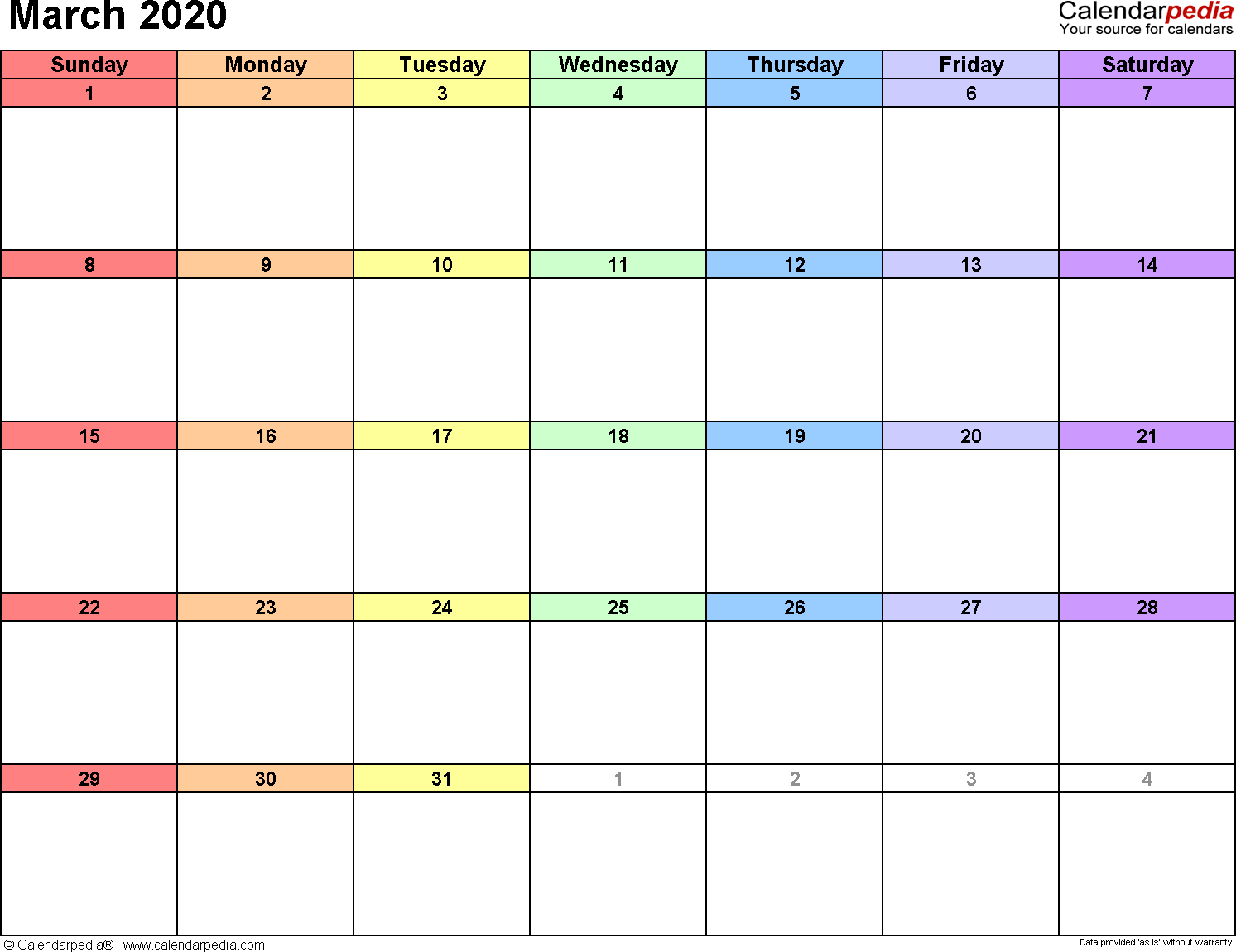 March 2020 Calendars For Word, Excel & Pdf